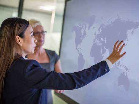 Employees looking at world map
